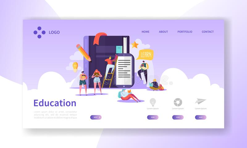 Education and Science Landing Page. Training, Courses Learning with Flat People Characters Website Template. Vector illustration royalty free illustration