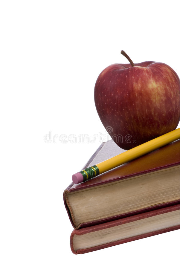 Education Series (apple on books 3) royalty free stock photo