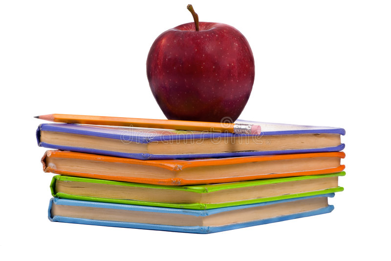 Education Series (Books with an apple) royalty free stock photo