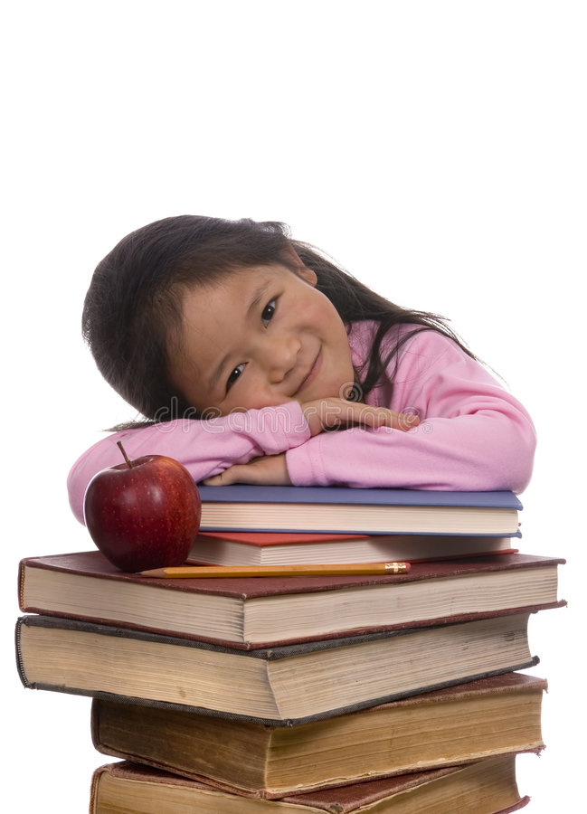 Education Series (Leaning on books) royalty free stock photo
