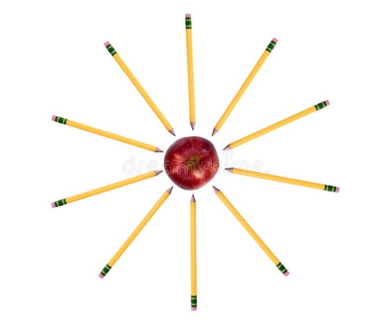 Education Series (Pencils around the apple) stock image