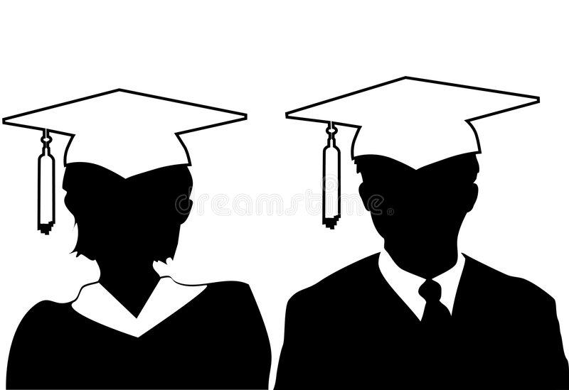 Education silhouettes graduate in cap gown. Pair of silhouette male and female graduates in cap and gown vector illustration