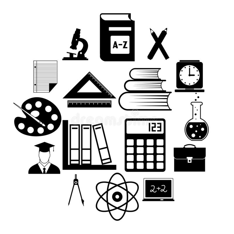 Education simple icons royalty free illustration