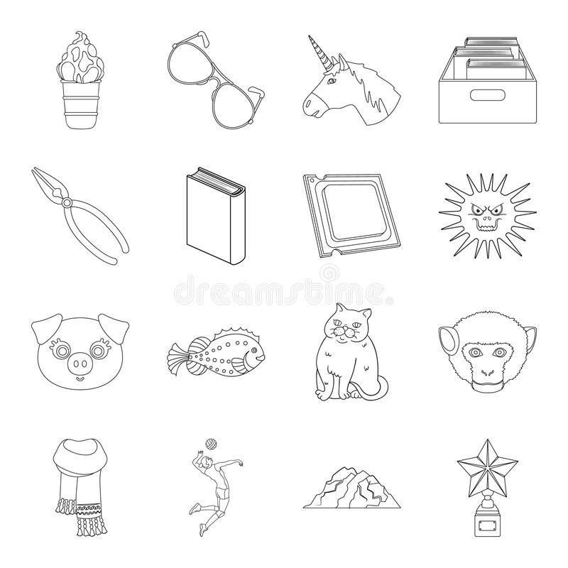 Education, sport, medicine and other web icon in outline style.cooking, technology, library icons in set collection. Education, sport, medicine and other icon royalty free illustration