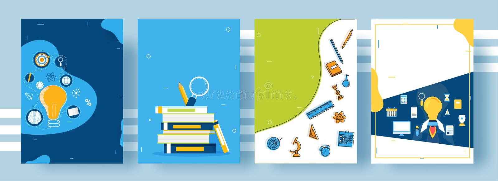 Education or startup based cover pages layout in four different style stock illustration