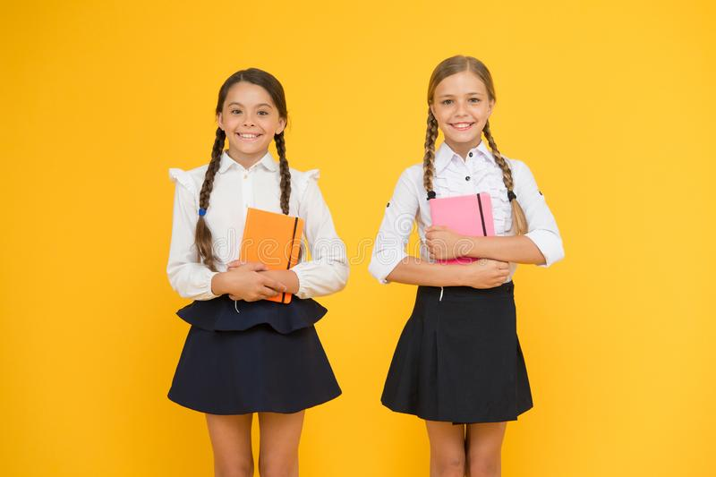 Education is step by step process of getting knowledge. Classmates having fun at school. Happy childhood. School royalty free stock photo