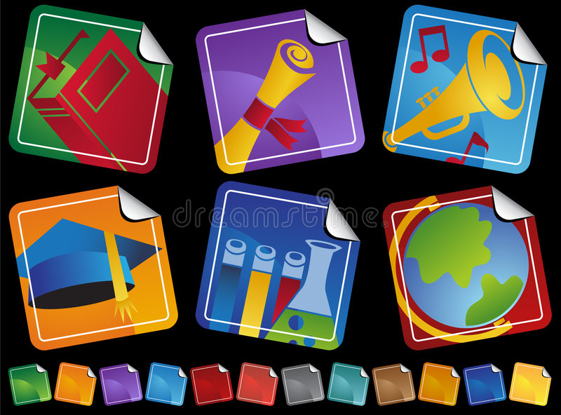 Education Sticker Icons stock illustration
