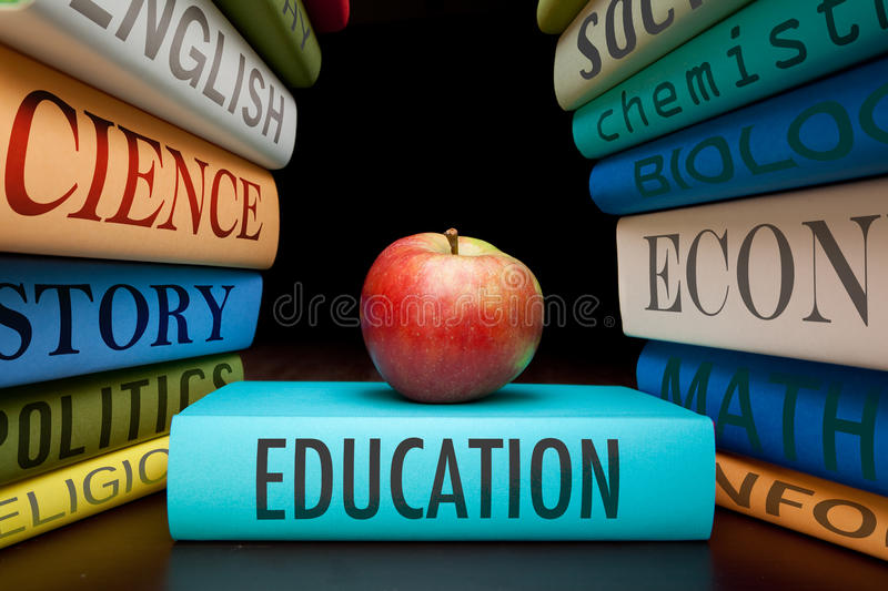 Education study books high school or university stock photo