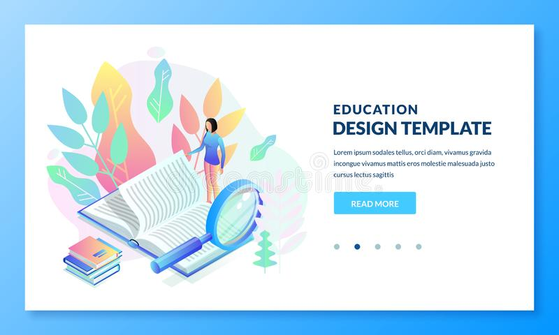 Education, study landing page banner design. Girl reading book. Vector isometric illustration. E-book library concept stock illustration
