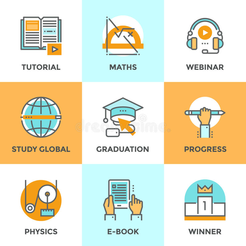 Education and study line icons set vector illustration