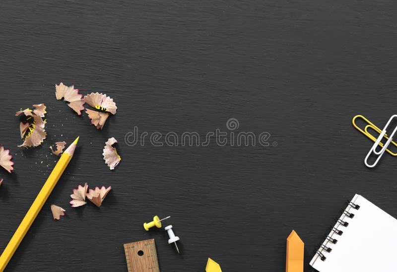 Education and supplies for banner background on blackboard top view with copy space. Back to school concept royalty free stock images