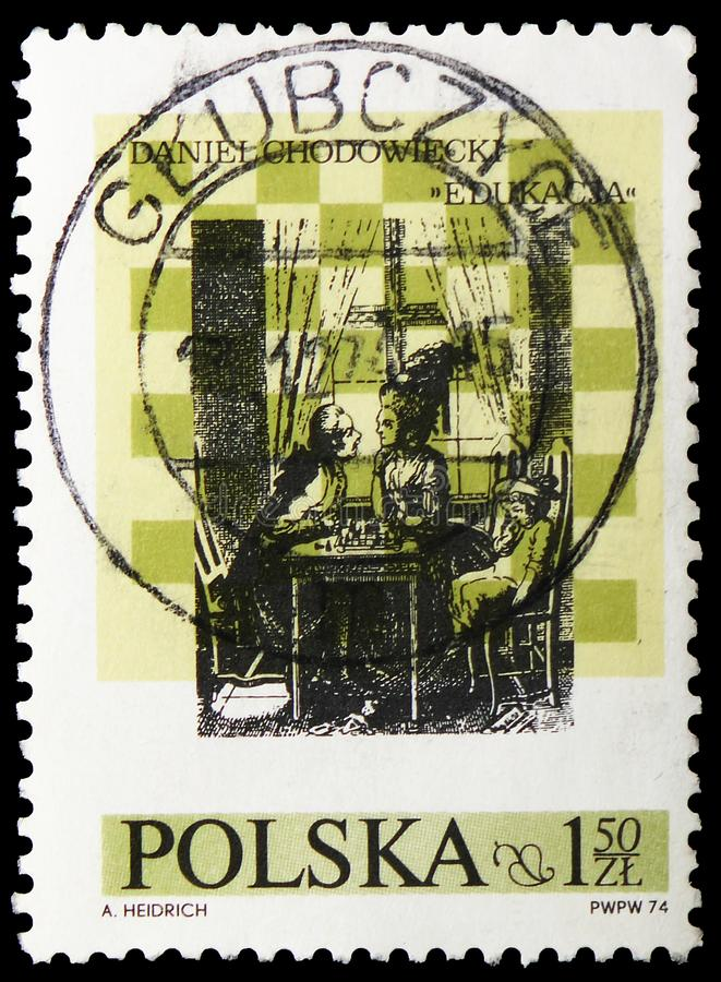 Education, teaching by Daniel Chodowiecki, 10th International Chess Festival, Lublin serie, circa 1974. MOSCOW, RUSSIA - MAY 25, 2019: Postage stamp printed in royalty free stock photos