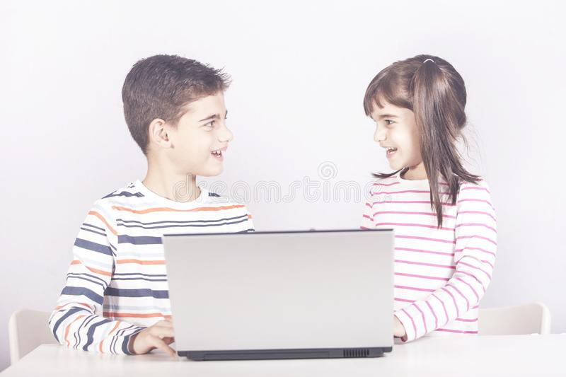 Education, technology and e-learning concept stock photography