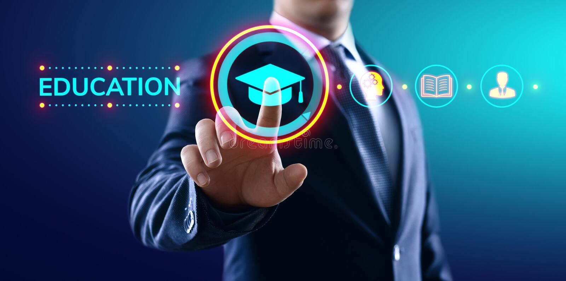 Education technology E-learning Online Training Webinar Seminar Knowledge Business Personal Development. stock photography