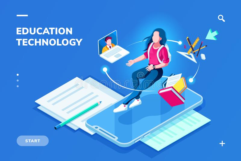 Education technology page for smartphone page vector illustration