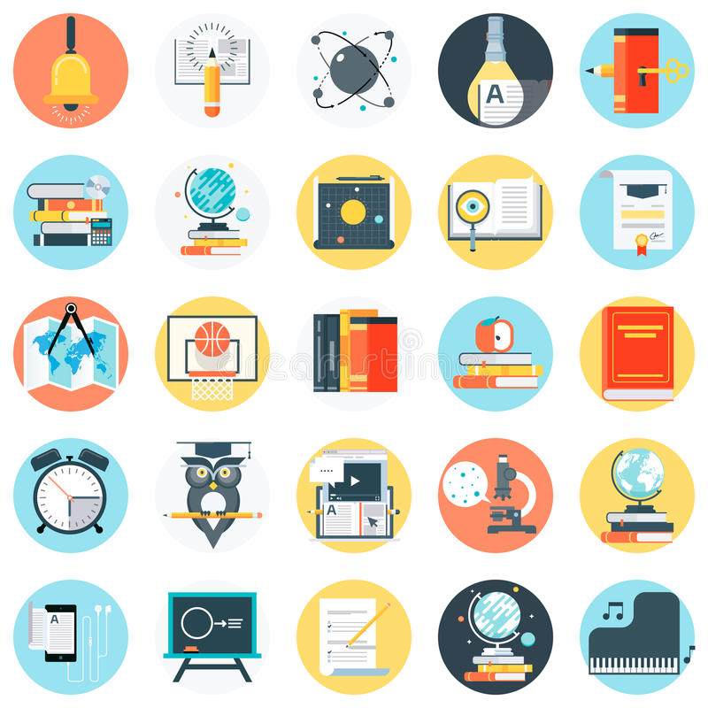 Education theme, flat style, colorful, icon set vector illustration