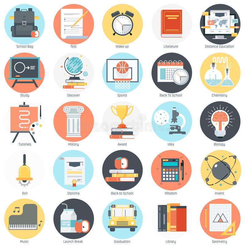 Education theme, flat style, colorful, icon set stock illustration