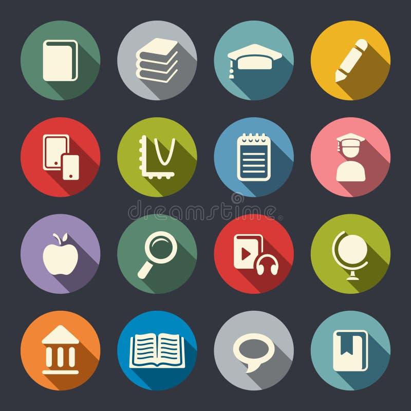 Education theme icons. Flat vector illustration