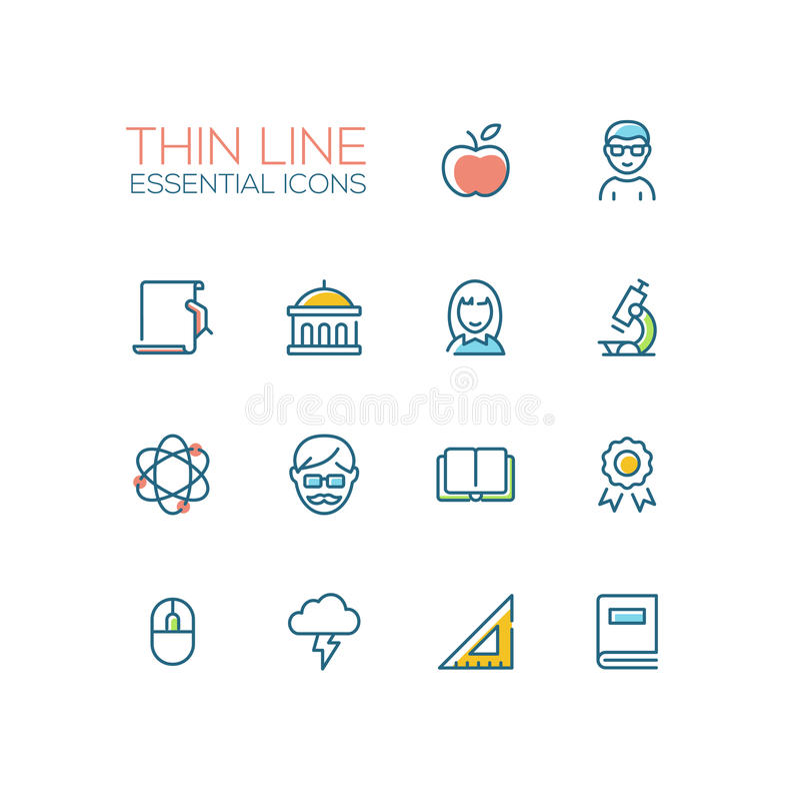 Free Education - Thin Single Line Icons Set Stock Photos - 85598123