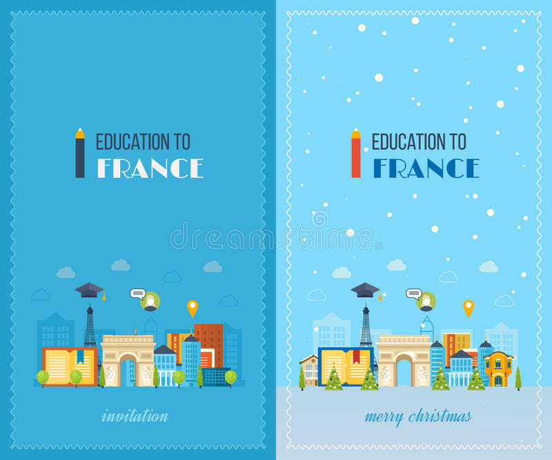 Education to France. Merry Christmas greeting card vector illustration