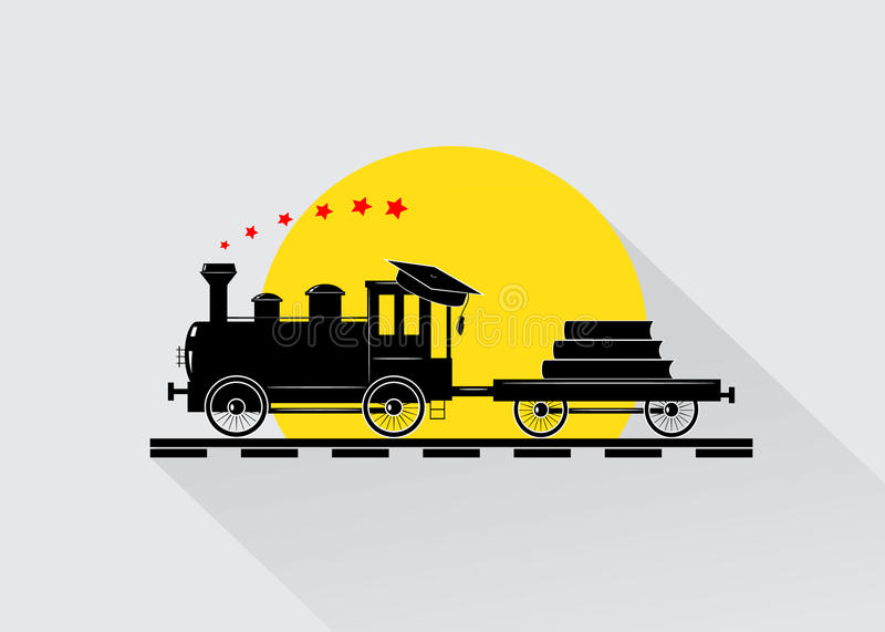 Education. The train with books and the bachelor's cap against the sun and stars royalty free illustration