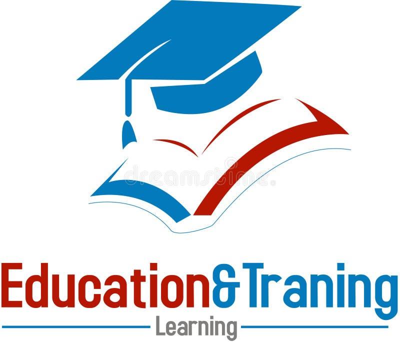 EDUCATION AND TRAINING. Illustration of mortarboard hat on education and training logo; isolated on white background stock illustration