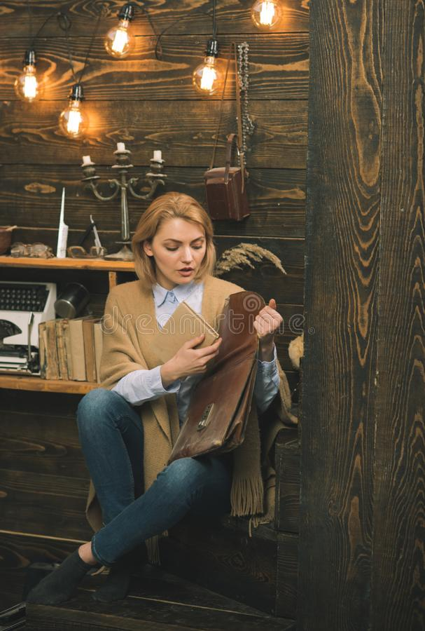 Education and training. Adorable woman student. woman get book from briefcase. University or college student study. Literature. World book day. Education for stock photography