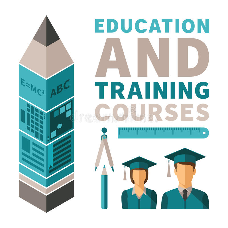 Education and training courses vector concept in flat style.  vector illustration