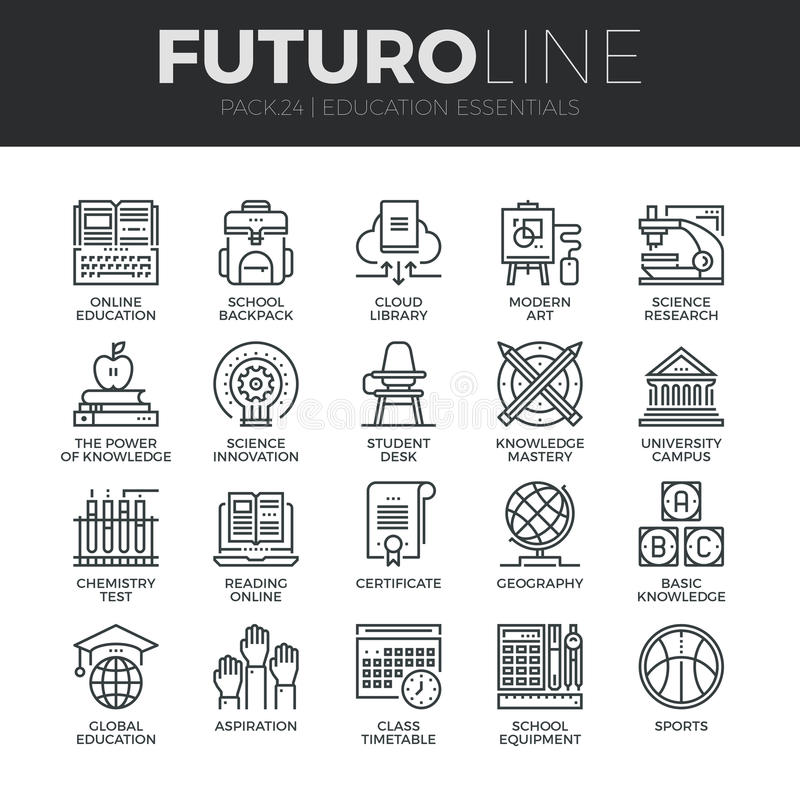 Education and Training Futuro Line Icons Set vector illustration