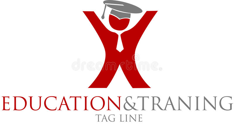 Education and training logo. Illustration of person with mortarboard hat on education and training logo; isolated on white background