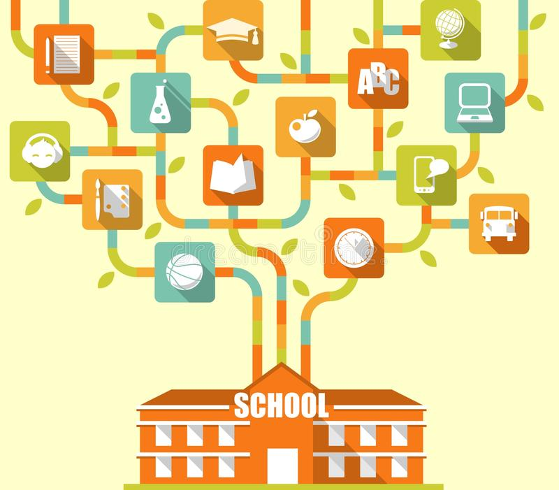 Education tree concept with flat icons stock illustration