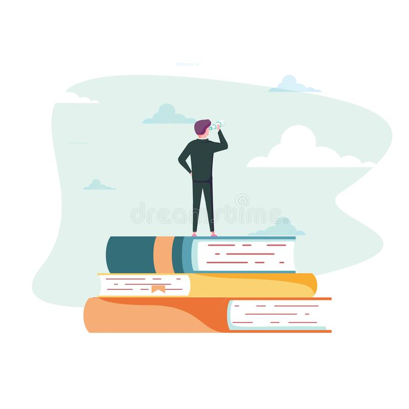Education vector concept. Businessman or student standing on book looking at future. Symbol of career, job. Graduate, achievement, wisdom. Eps10 vector stock illustration