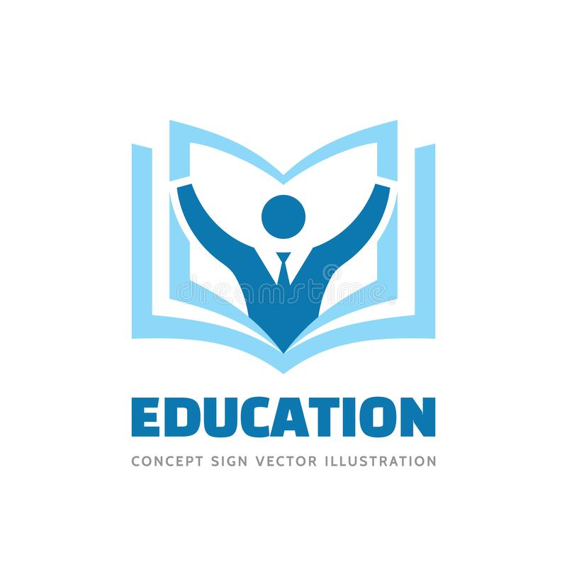 Education - vector logo template concept illustration in flat style design. Learning book sign. High school symbol. Student person vector illustration