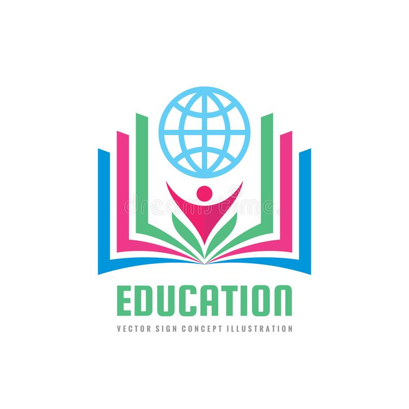 Education - vector logo template concept illustration in flat style design. Learning book sign. High school symbol. vector illustration