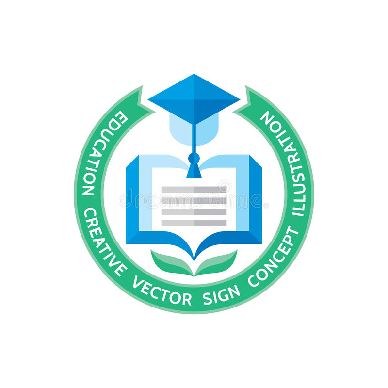 Education - vector logo template concept illustration in flat style design. stock illustration