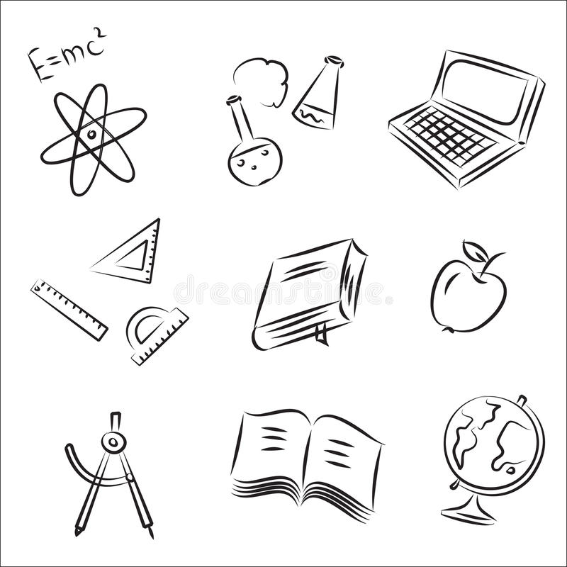 Education Vector Sketch Set. Back to School Sketch Collection royalty free illustration