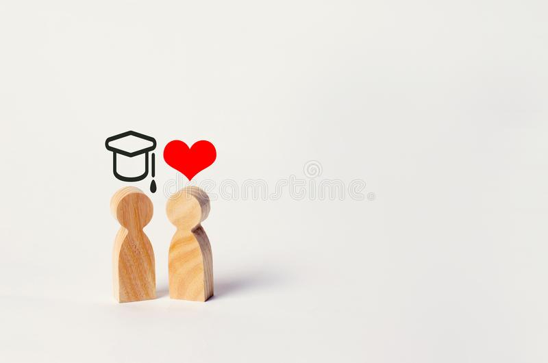 Education versus love. Construction of a career. Career growth at the expense of the family`s personal life. Money is more import stock image