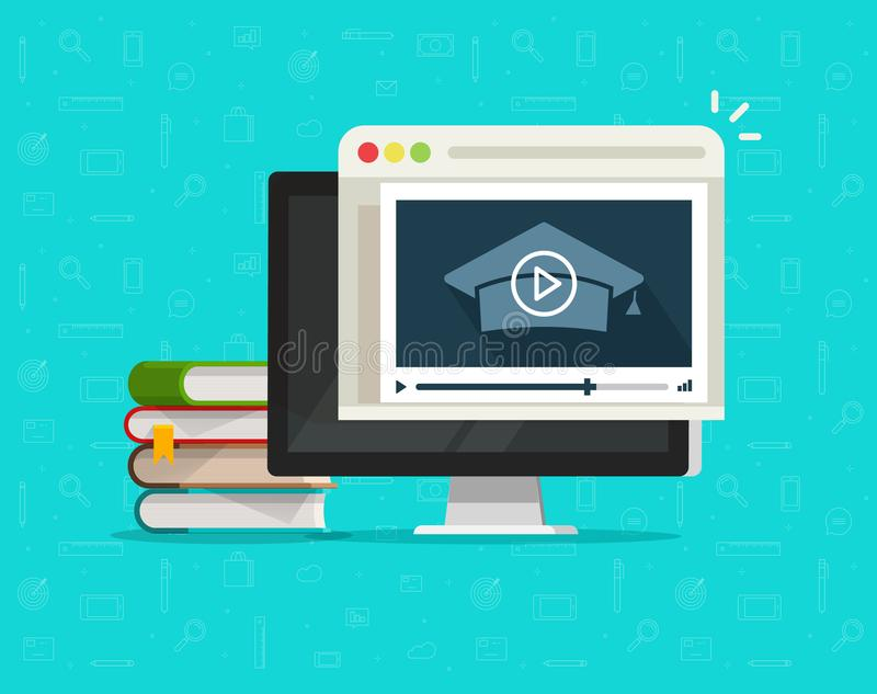 Education via online video on computer vector illustration, flat cartoon desktop pc and video webinar courses, concept. Internet learning, digital distance stock illustration