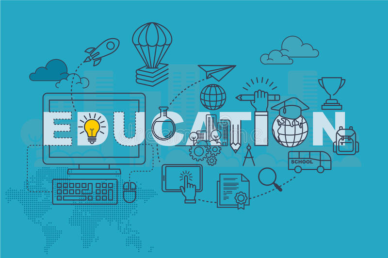 Education web page banner concept with thin line flat design. Vector illustration eps-10 royalty free illustration