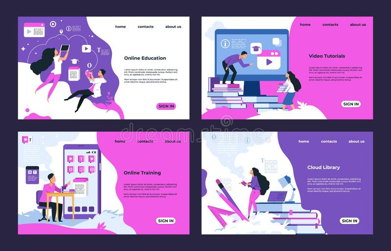 Education website. Cloud library, learning videos and tutorials, online education and testing. Vector training course. Design landing pages, illustrations vector illustration