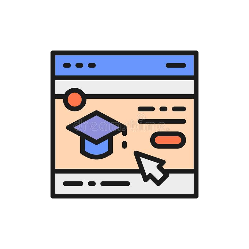 Education website, web page flat color line icon. Vector education website, web page flat color line icon. Symbol and sign illustration design. Isolated on vector illustration