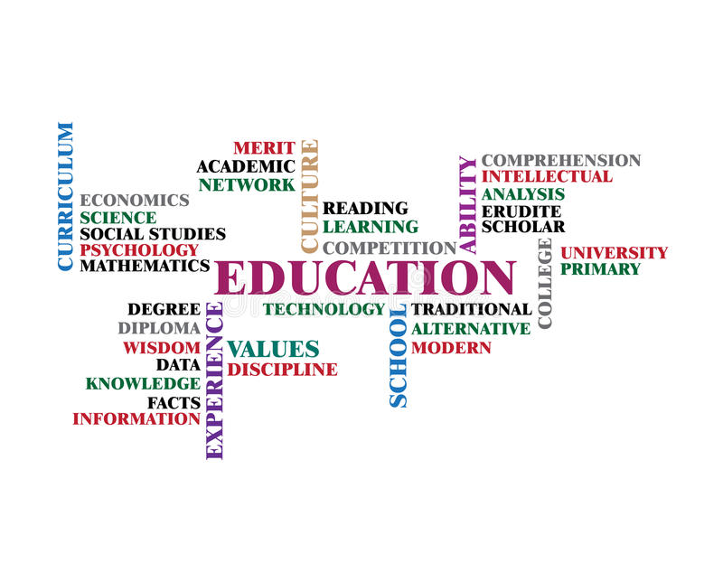 Education word cloud concept illustration, isolated on white background. stock illustration