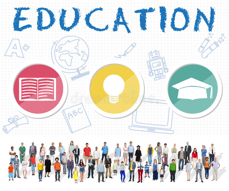 Education Word Lightbulb Hat Book Icon Graphic Concept royalty free stock photography