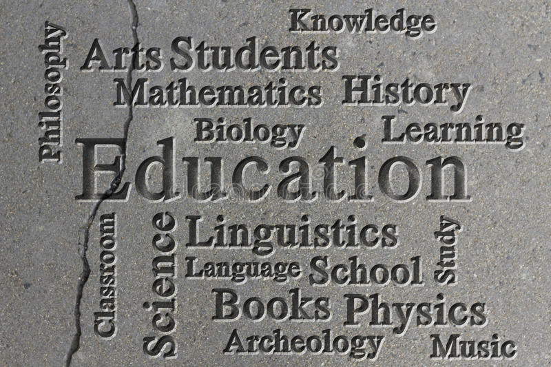 Education Wordcloud. Education classroom subjects and related words in wordcloud on textured background stock photography