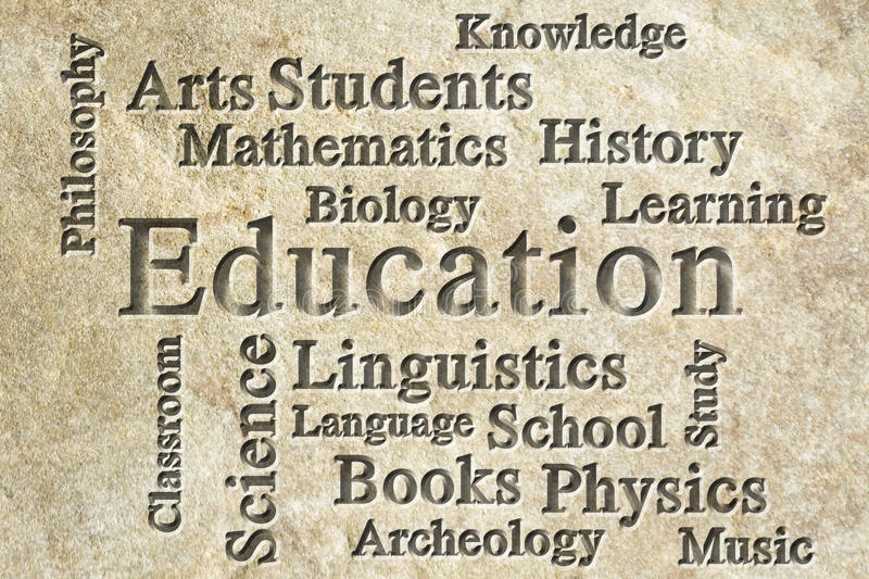 Education Wordcloud. Education classroom subjects and related words in wordcloud on textured background royalty free stock photography