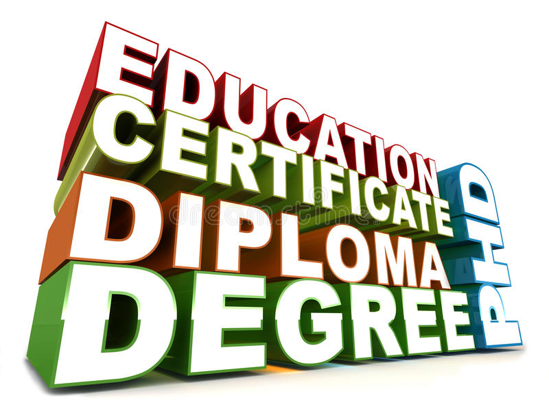 Education words. Education related words like degree diploma certificate phd, on white background royalty free illustration