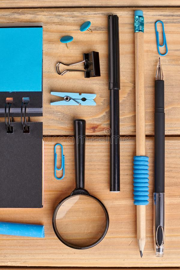 Educational background with various school supplies. royalty free stock photography