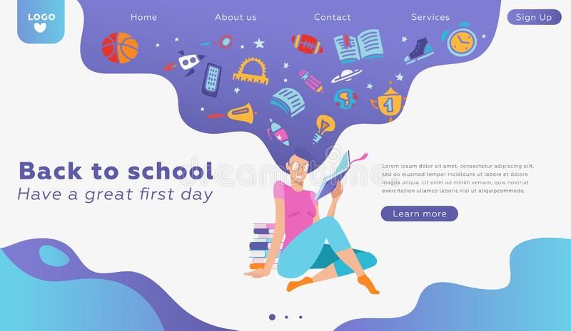 Educational banner or landing page concept template about love to reading. Vector lovely woman character portrait, holding paper stock illustration