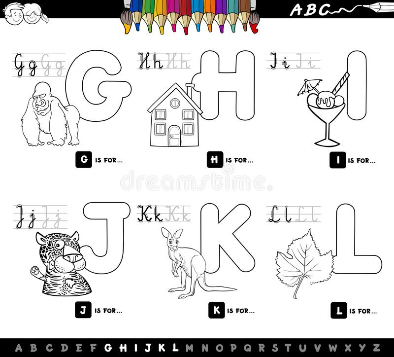 Educational cartoon alphabet for kids color book stock illustration