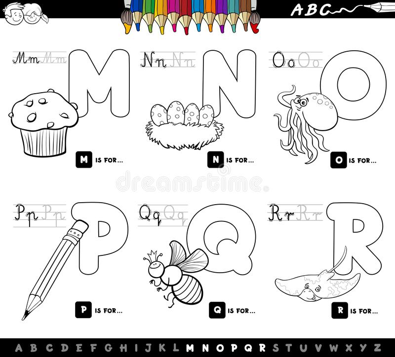 Educational Cartoon Alphabet Letters Color Book Stock Vector ...